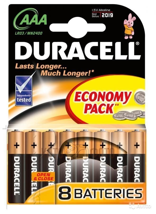 Батарейка AAA Duracell LR03-8BL Basic (8шт) батарейка aaa philips lr03p6bp 10 6 штук