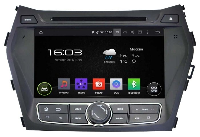 Штатная аудио система Intro AHR-2483 Hyundai Santa Fe/Grand S.F. 15+ 2Din/ BT/ NAVI/ Android 4.4.4 1024*600 wi-fi штатная магнитола hyundai elantra vi ad wide media ks9025qr 3 32 dsp carplay 4g sim для авто без камеры на android 10 камера заднего вида в подарок