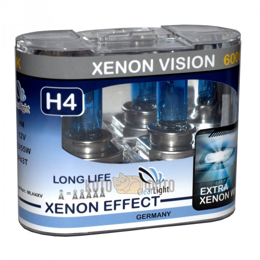 Комплект ламп Clearlight H4 12V-60/55W XenonVision (2 шт.) MLH4XV