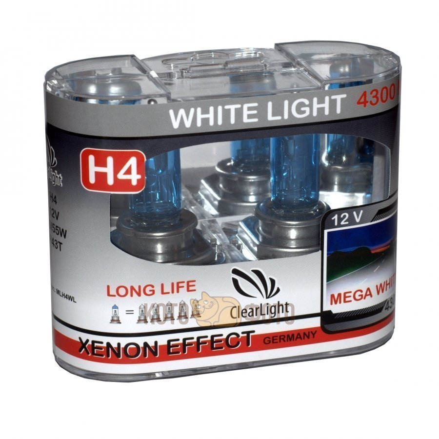 Комплект ламп Clearlight H4 12V-60/55W WhiteLight (2 шт.) MLH4WL