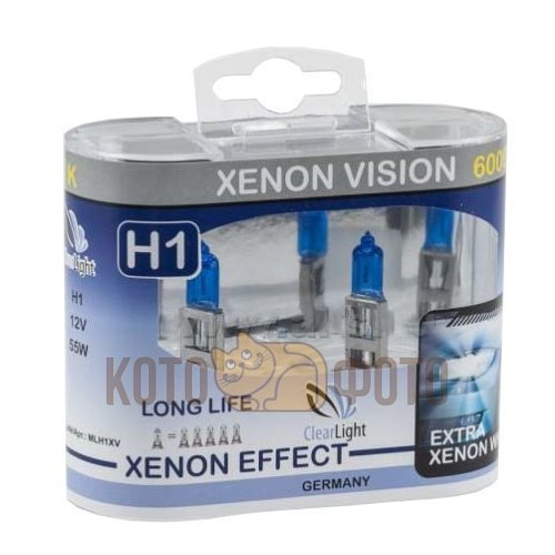 цена на Комплект ламп Clearlight H1 12V-55W XenonVision (2 шт.) MLH1XV