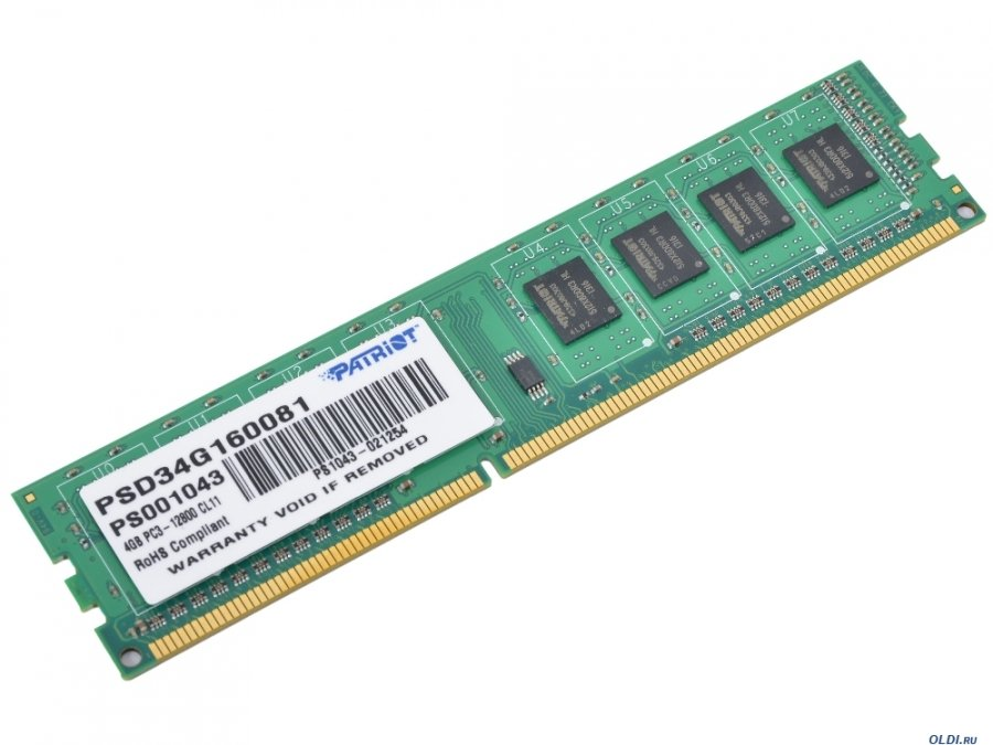 Память DDR3 Patriot 4Gb Signature Line (PSD34G160081)