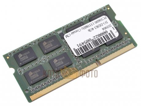 Память оперативная SO-DIMM DDR3 4Gb Corsair 1333MHz CL9 204-pin 1.5В (CMSO4GX3M1A1333C9)