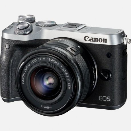 Фотография товара цифровой фотоаппарат Canon EOS M6 Kit EF-M 15-45 IS STM Silver (146615)