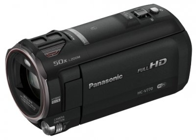 Видеокамера Panasonic HC-V770Panasonic<br>видеокамера с 20x зумом, запись видео Full HD 1080p на карты памяти, матрица 12.76 МП (1/2.3), карты памяти SD, SDHC, SDXC, Wi-Fi, стабилизатор изображения, вес: 353 г<br>