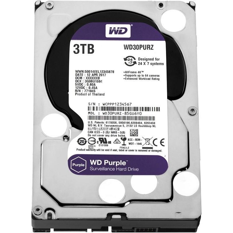"Жёсткий диск WD Purple™ WD30PURZ 3ТБ 3,5"" IntelliPower 64MB (SATA-III) DV"