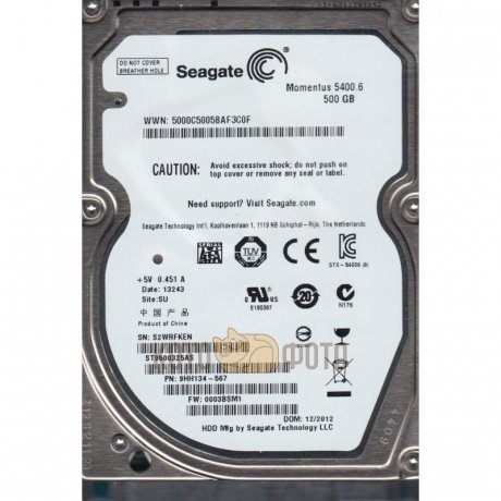 Жесткий диск Seagate Original SATA 500Gb ST500LT012 (5400rpm) 16Mb 2.5