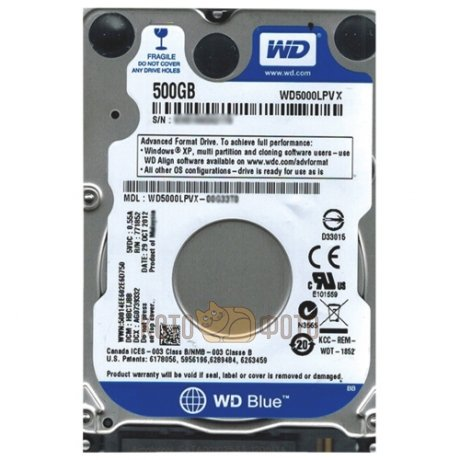 Жесткий диск WD Original SATA-III 500Gb WD5000LPVX Blue (5400rpm) 8Mb 2.5