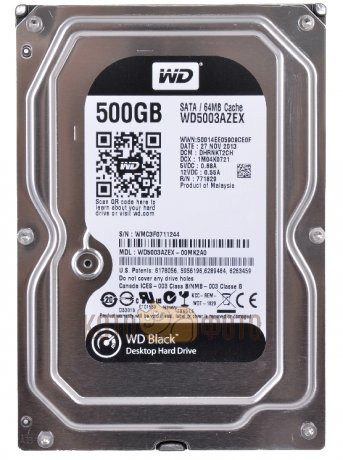 Жесткий диск WD Original SATA-III 500Gb WD5003AZEX Caviar Black (7200rpm) 64Mb 3.5