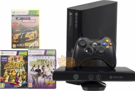 Игровая консоль Microsoft Xbox 360E 4 ГБ Kinect bundle + Forza Horizon + Kinect Sports (N7V-00088)