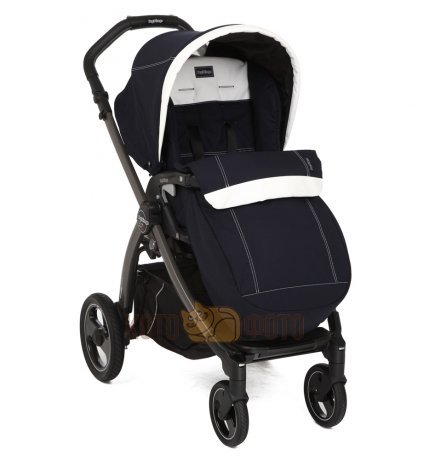 Коляска прогулочная Peg-perego Book Plus S Completo с шасси Book Plus S JET Black цвет RIVERA син/бе