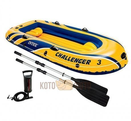 Лодка Intex Challenger 3 Set (68370), с веслами
