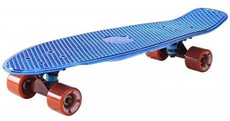 Скейтборд Y-SCOO Big Fishskateboard metallic blue и brown