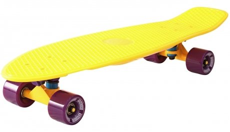 Скейтборд Y-SCOO Fishskateboard yellow и dark purple