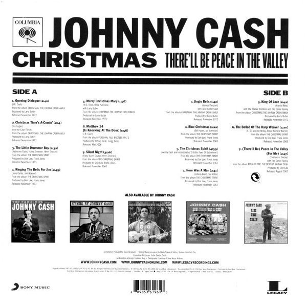 Купить Виниловая пластинка Cash, Johnny, Christmas: There'Ll Be Peace In The Valley (0889853619610), Sony Music