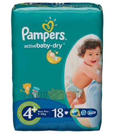 Подгузники Pampers Active Baby-Dry 4+ (9-16 кг) 18 шт.