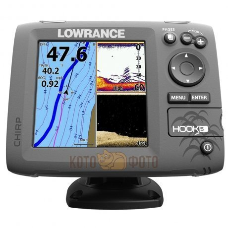 Эхолот Lowrance Hook-5 Mid/High/DownScan (83/200+455/800kHz)