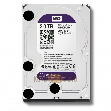 Жесткий диск WD Original SATA 2Tb WD20PURX Purple 64Mb 3.5