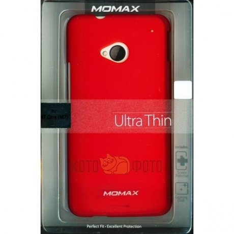 Momax Ultra Thin Case for HTC One M7 Clear touch (Red)
