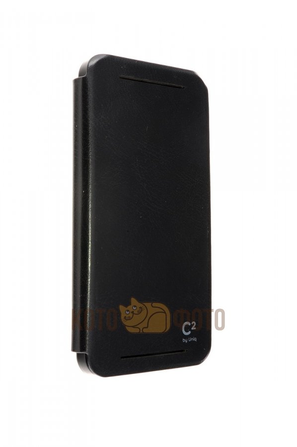 Uniq C2 Book Type Leather Case for HTC One Black protective soft pvc back case for htc sensation xl x315e g21 white