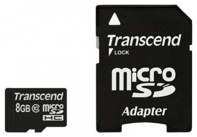 Transcend Micro SDHC Card 8GB Class 10 adapter