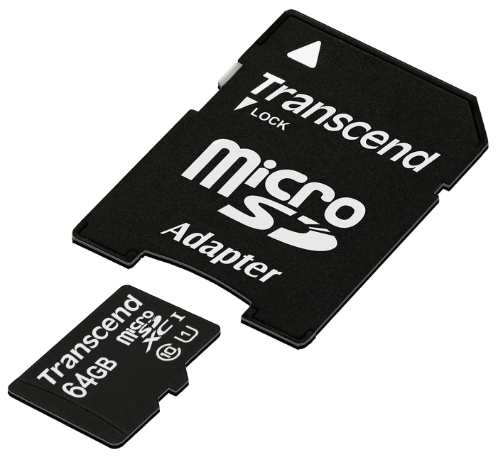 Карта памяти Transcend Micro SDHC Card 64GB class10 U1 w/adapter (TS64GUSDU1) карта памяти