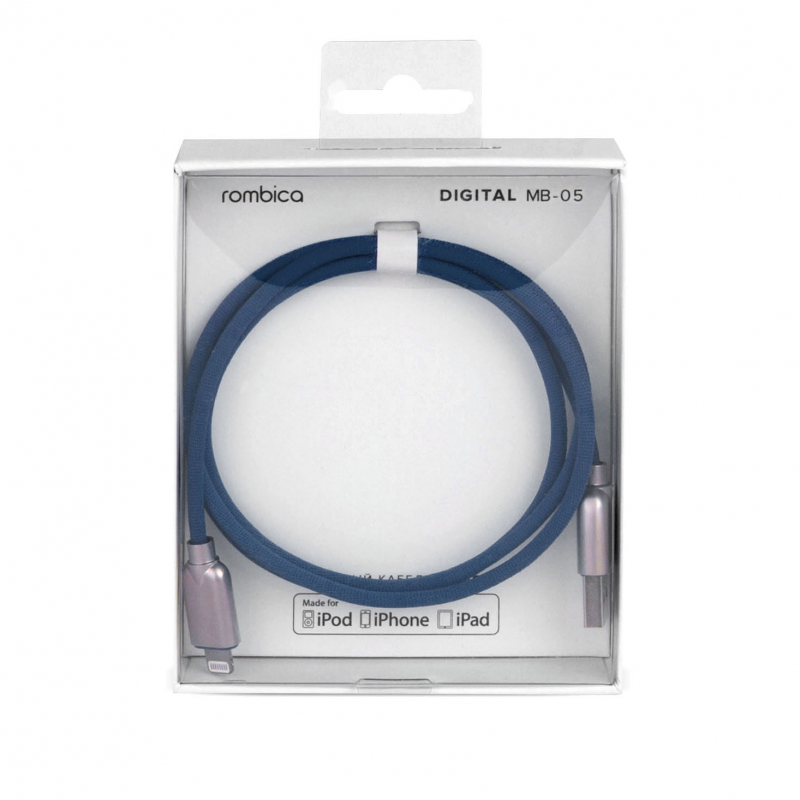 Кабель Rombica Digital MB-05 Navy USB - Apple Lightning (MFI) текстиль 1м синий кабель rombica digital ab 05 usb microusb 1 м
