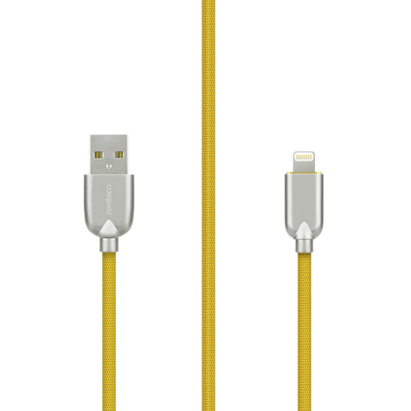 Фото - Кабель Rombica Digital MB-05 Yellow USB - Apple Lightning (MFI) текстиль 1м жёлтый кабель rombica digital ab 05 usb microusb 1 м