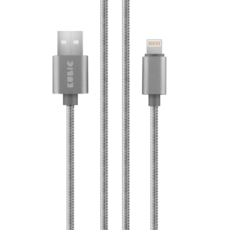 Кабель Kubic C02L Gray USB - Apple Lightning текстиль 2м серый кабель akai usb – apple lighting gray