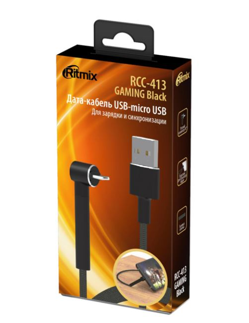 Фото - Кабель RITMIX RCC-413 USB-micro USB GAMING Black кабель ritmix rcc 433 gaming usb – type c black