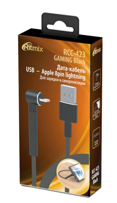 Фото - Кабель RITMIX RCC-423 USB – Apple 8 pin Lightining GAMING Black кабель ritmix rcc 433 gaming usb – type c black