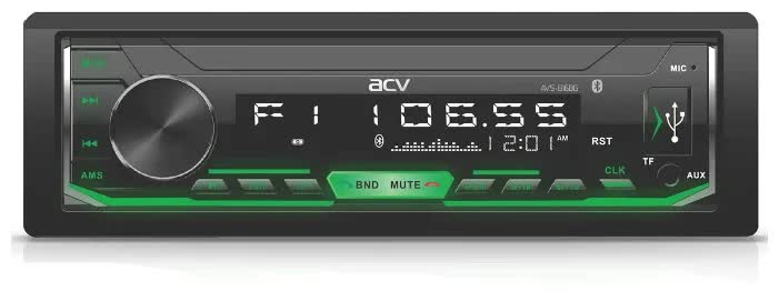 Автомагнитола ACV AVS-816BG 1din/зеленая/Bluetooth/USB/AUX/SD/FM/4*50 автомагнитола acv avs 819bg 1din зеленая fm mp3 usb bt sd fm 4 45 съемн панель