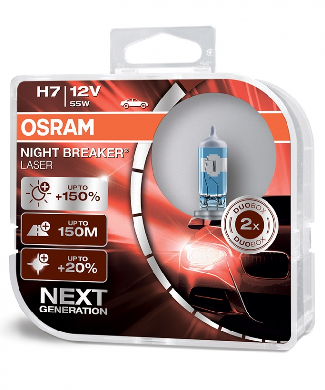 Лампа галогенная OSRAM H7 Night Breaker Laser 12V 55W, 2шт., 64210NL-HCB (пу.2)