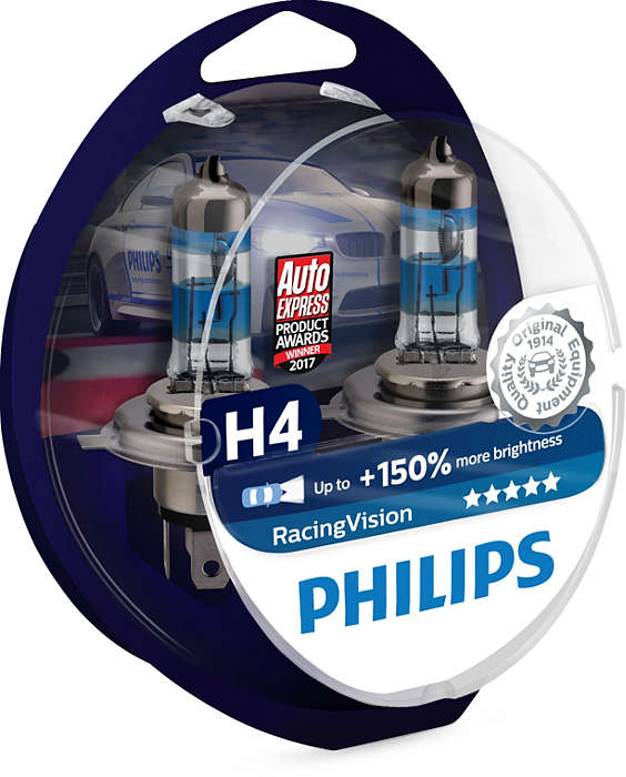 Лампа галогенная PHILIPS Racing Vision +150% H4 12V 60/55W (P43t), 2шт, 12342RVS2