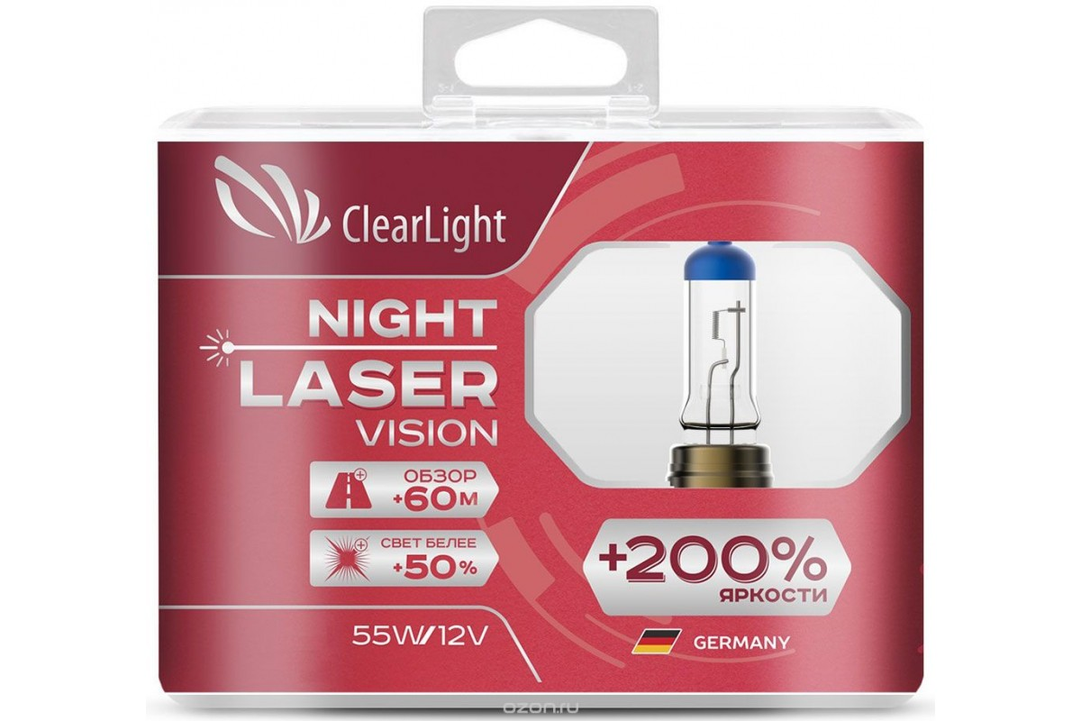 Лампа HB3(Clearlight)12V-60W Night Laser Vision +200% Light (компл., 2 шт.) clearlight hb3 9005 4300k 2 шт
