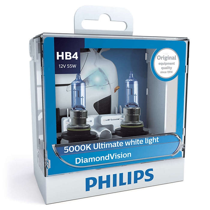 Лампа галогенная PHILIPS HB4 Diamond Vision 12V-55W P22d, 2шт, 9006DVS2