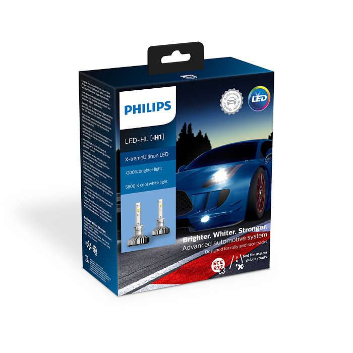 цена на Лампа автомобильная PHILIPS H1 LED Air Cool, X-treme Ultinon LED + W5W LED 2шт., 11258XUX2/T10