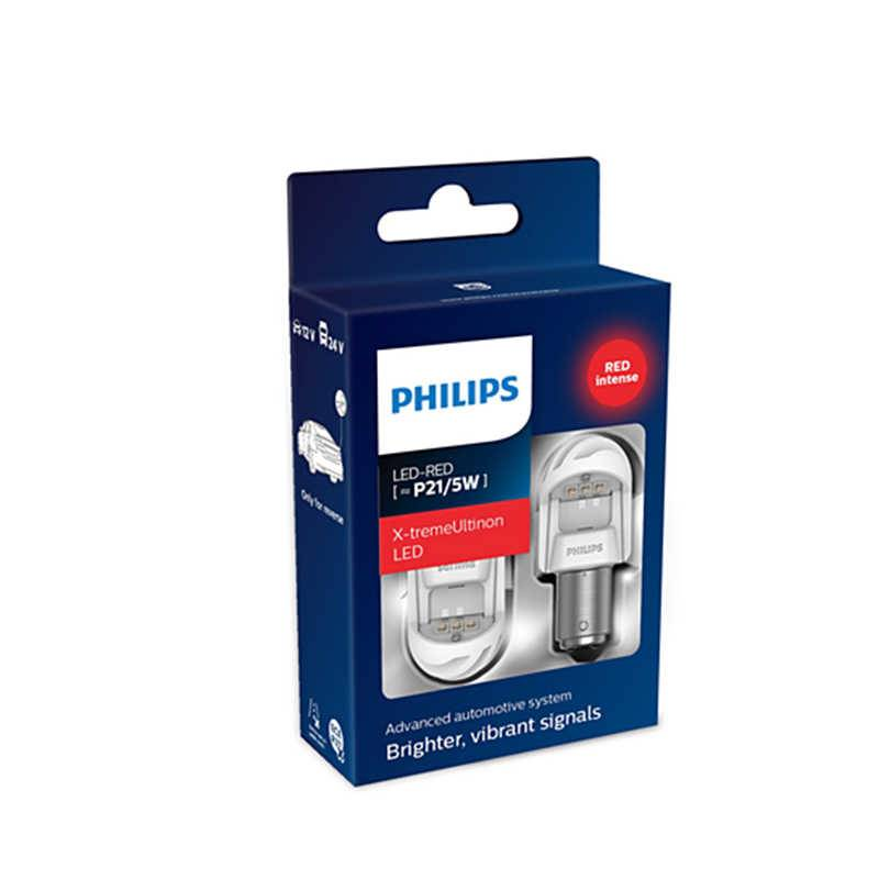 Лампа автомобильная PHILIPS P21/5W 12V/24VLED (BAY15d) RED X-tremeUltinon LED, 2шт., 11499XURX2 лампа philips longlife ecovision p21 5w bay15d 12v 21 5w 12499llecob2 2 штуки