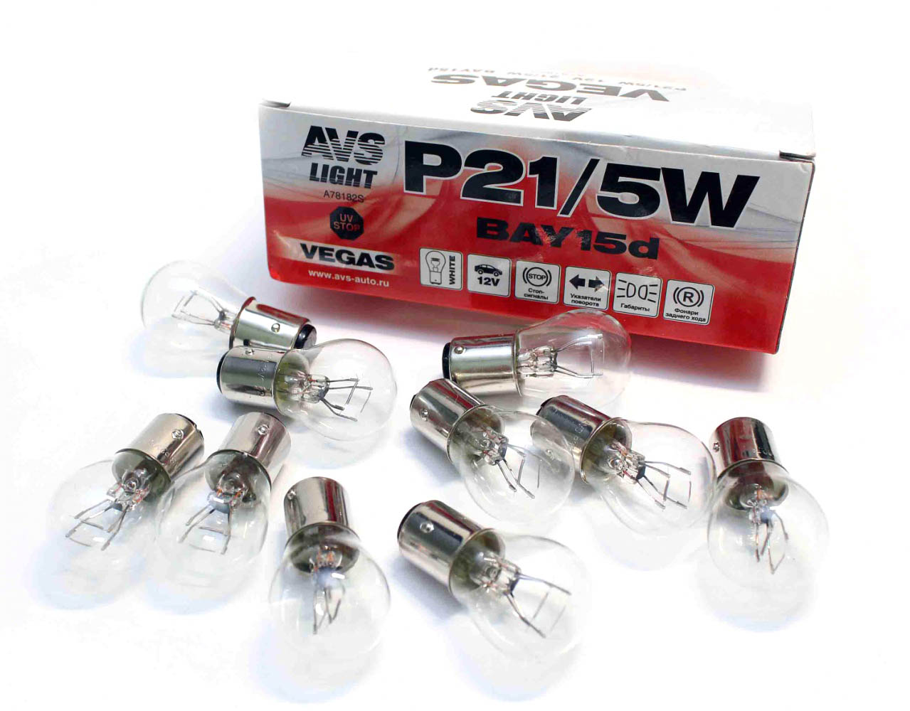 Лампа автомобильная AVS Vegas P21/5W BAY15D 12V Box, 10шт (A78182S) лампа philips p21 5w 12v 2 0 3w bay15d led 12899rx2 2шт