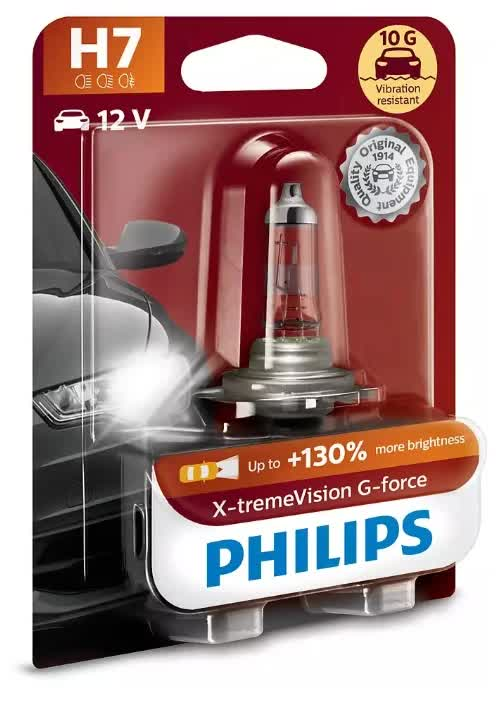 Лампа галогенная PHILIPS H7 X-treme Vision G-force 12V 55W (PX26d) 1шт, 12972XVGB1