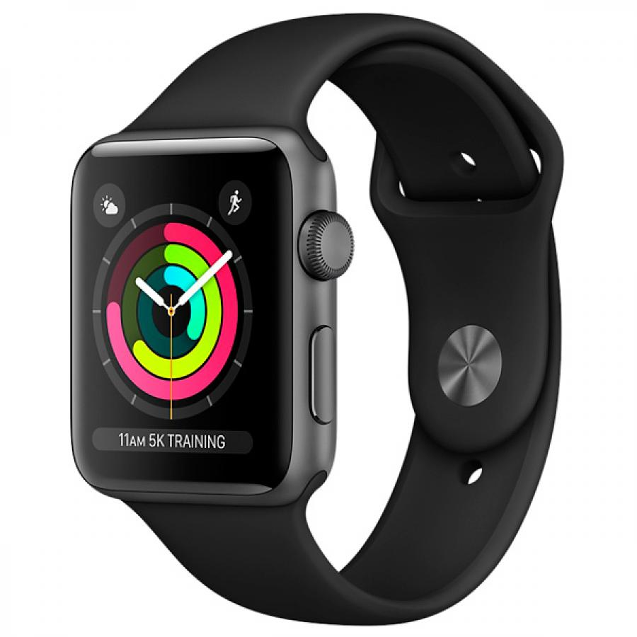 Часы APPLE Watch Series 3 38mm Grey Space with Black Sport Band (MQKV2RU/A) 447116