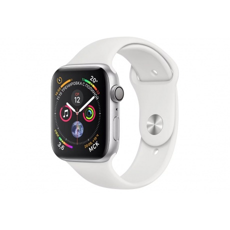 Умные часы APPLE Watch Series 4 44mm Silver Aluminium Case with White Sport Band (MU6A2RU/A)
