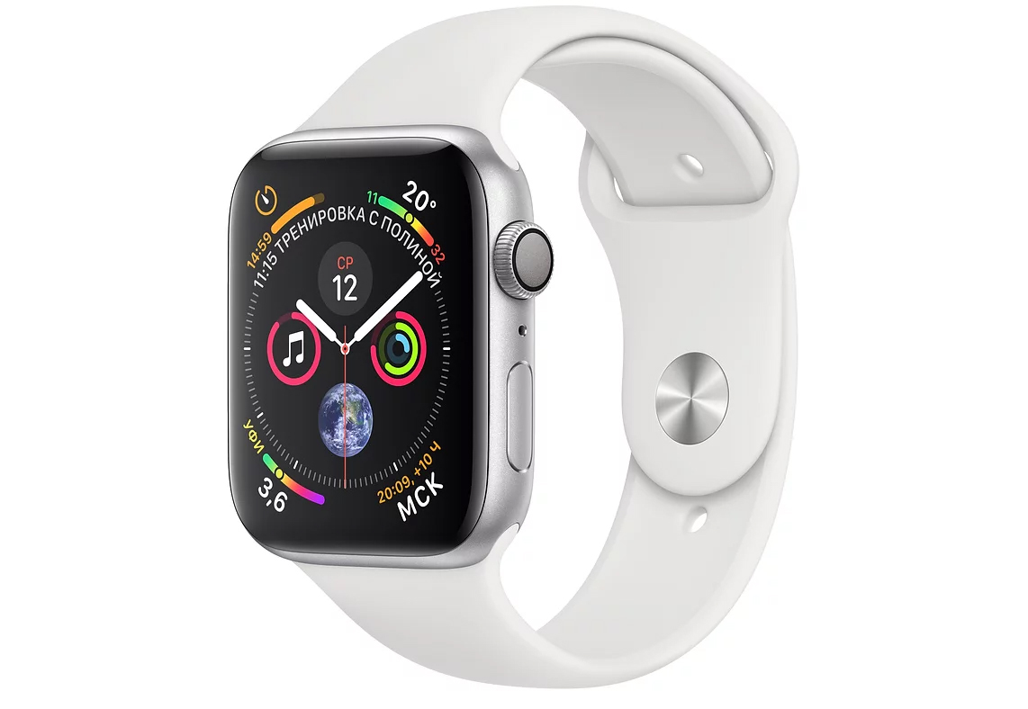 Умные часы APPLE Watch Series 4 44mm Silver Aluminium Case with White Sport Band (MU6A2RU/A) - фото 1
