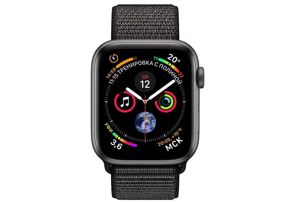 Умные часы APPLE Watch Series 4 44mm Space Grey Aluminium Case with Black Sport Loop (MU6E2RU/A) - фото 2