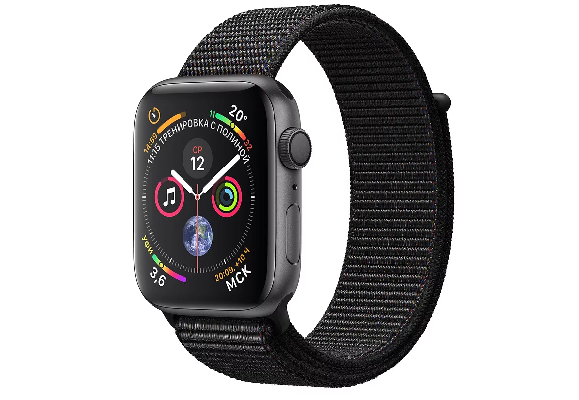 Умные часы APPLE Watch Series 4 44mm Space Grey Aluminium Case with Black Sport Loop (MU6E2RU/A)