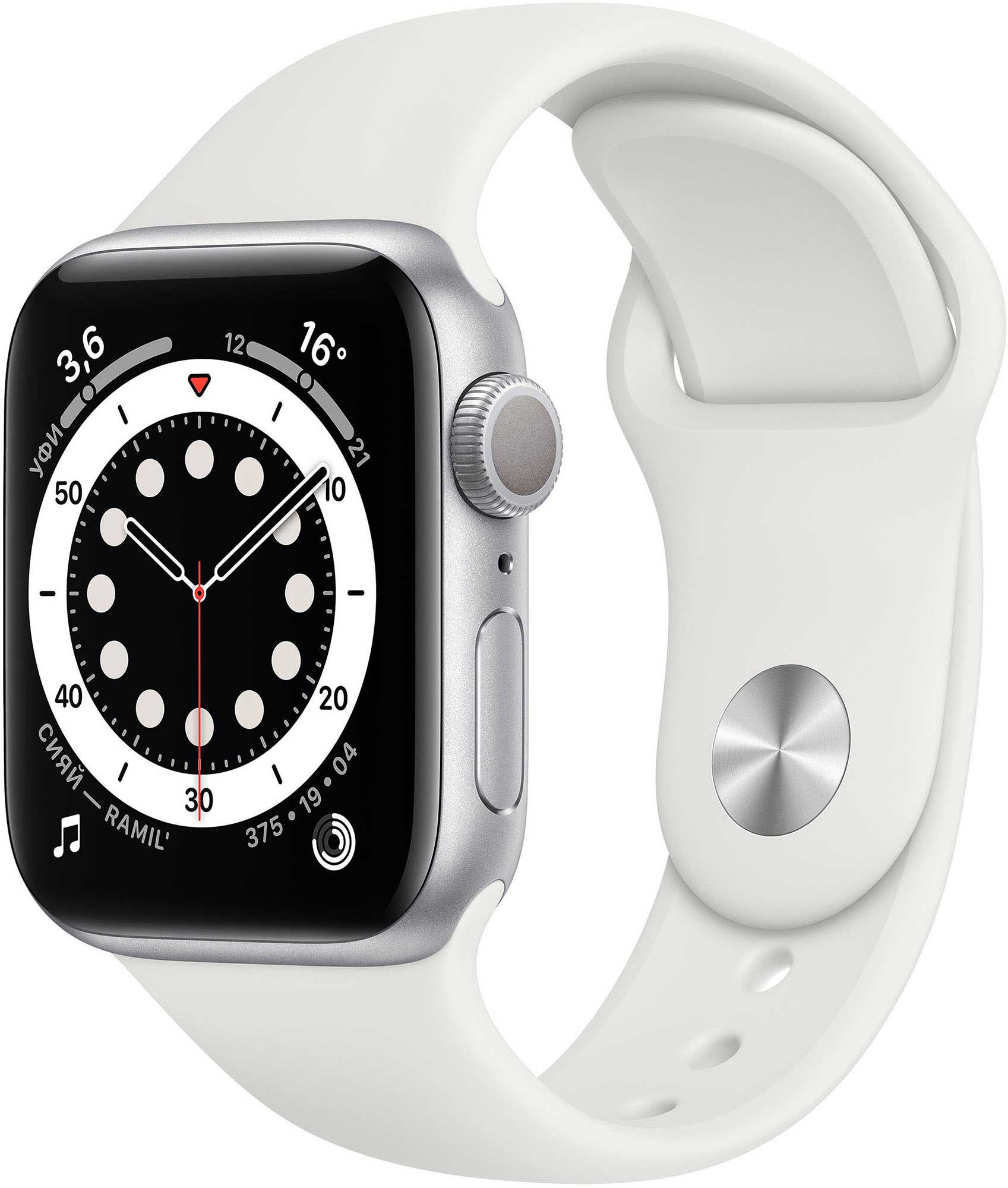 Умные часы Apple Watch Series 6 40mm Silver Aluminium Case with White (MG283RU/A) смарт часы apple watch series 6 40 мм silver mg283ru a