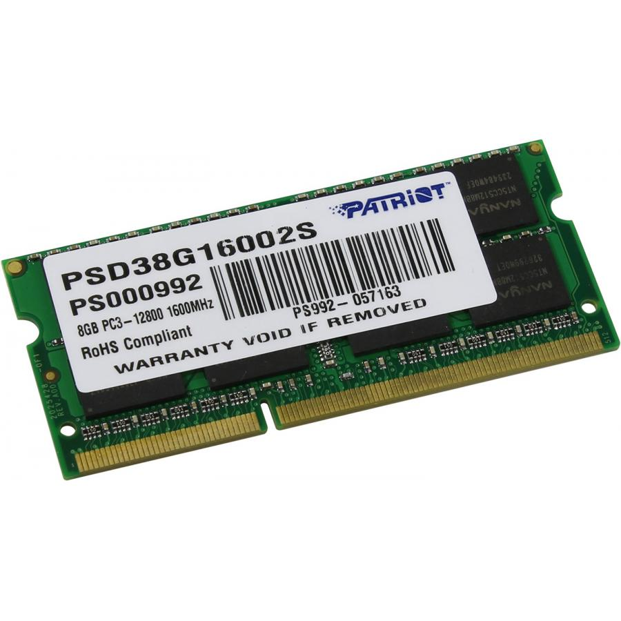 SO-DIMM DDR3 Patriot 8Gb 1600MHz (PSD38G16002S)