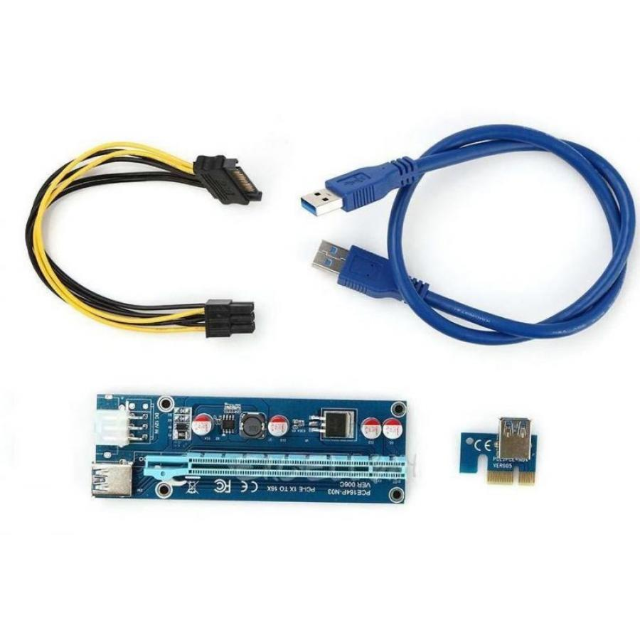 Переходник для видеокарт (riser) Foxline RC-006C 10x usb 3 0 pci e express 1x to16x extender riser board card adapter kits cable a8