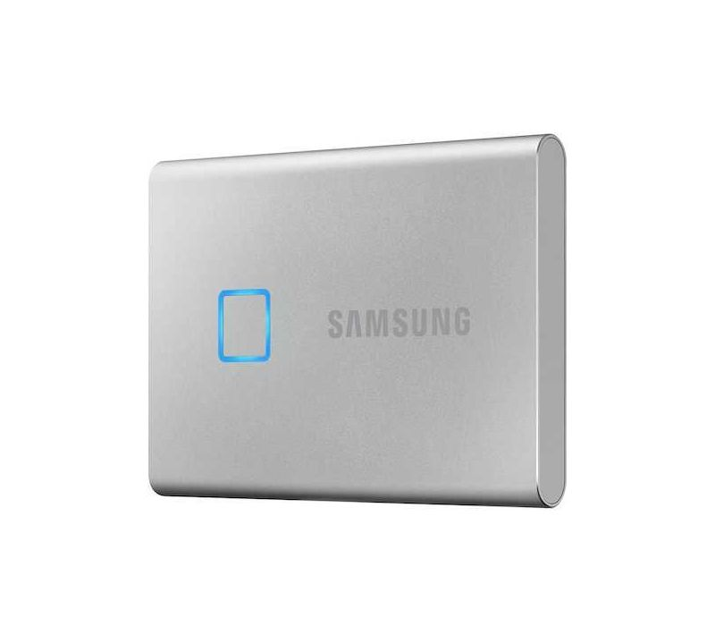Фото - Внешний SSD Samsung Portable SSD T7 Touch 500GB silver (MU-PC500SWW) ноутбук hp 15 da0038ur 4gm64ea intel n5000 4gb 500gb 15 6 fullhd win10 silver