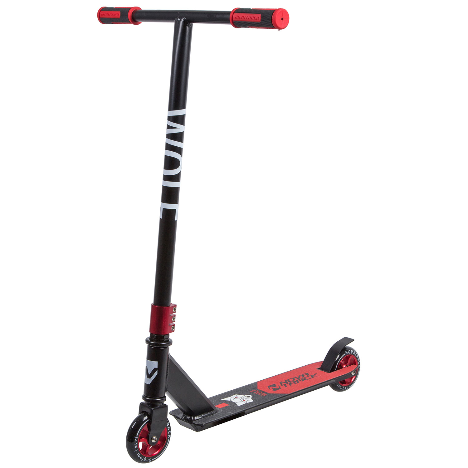 Самокат Novatrack Wolf EL Black-Red 100A.WOLF.BRD9